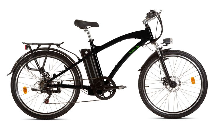 Velocity Naughton eBike. electric bike with 18.2A/hr Samsung Lithium Ion battery, Shimano gears, disc brakes, aluminium frame, front and rear lights, mudguards, carrier