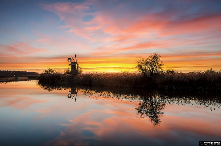Monday's sunset looking towards Turf Fen Windpump at How Hill on the Norfolk Broads. I haven't added any saturation.  (C) Martin Birks. Do not use without my permission.  www.martinbirksphotography.co.uk
