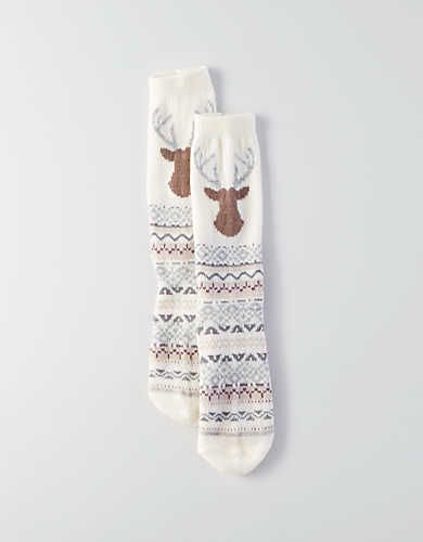 AEO Deer Crew Sock , Cream | American Eagle Outfitters