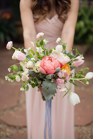 Pink peony and tulip bridesmaid bouquet | Laura Hernandez Photography | see more on: http://burnettsboards.com/2014/05/adorable-watercolor-ranch-wedding/ #pink #peony