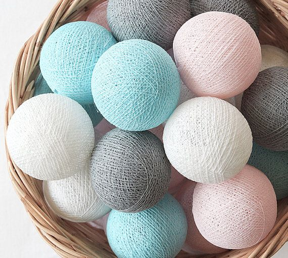 Grey Pastel Dreams 20 Handmade Cotton Ball Patio Party String Lights – Fairy, Wedding, Holiday, Home Décor on Etsy, ฿333.00