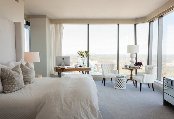 The Suite Life // high rise apartment, bright fresh clean white bedroom with gorgeous views
