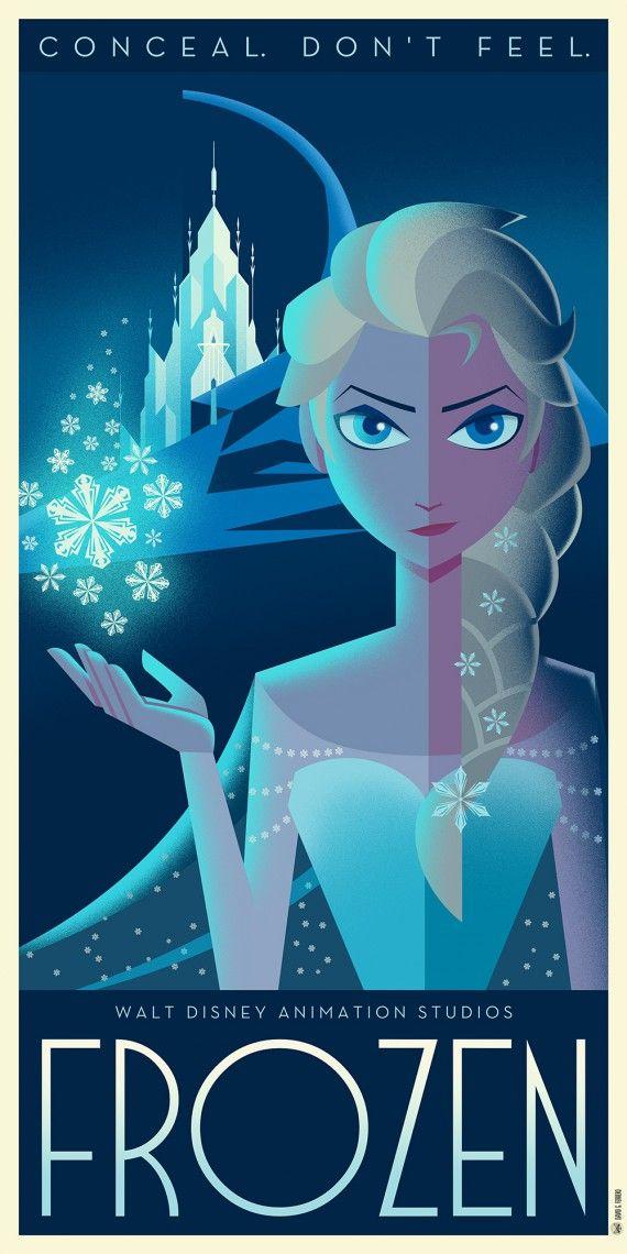 Les affiches Disney Art Déco de David G. Ferrero - La Reine des Neiges