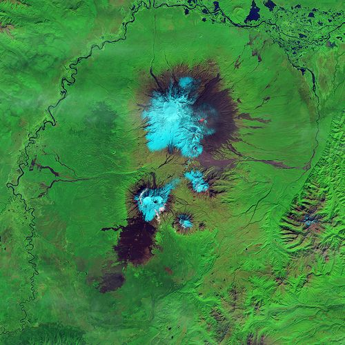 This false-color (shortwave infrared, near infrared, green) satellite image reveals an active lava flow on the western slopes of Klyuchevskaya Volcano.
