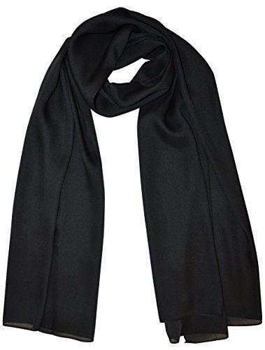 e89f5928a7ed8b XXL langer Schal mit Silk/Seiden-Feeling Halstuch Schals Tücher Stola  Einfarbig uni Scarf