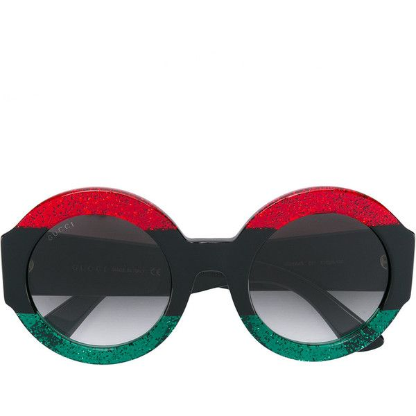Gucci Eyewear round frame sunglasses ($535) ❤ liked on Polyvore featuring accessories, eyewear, sunglasses, red, red sunglasses, red round sunglasses, gucci glasses, red glasses and round sunglasses