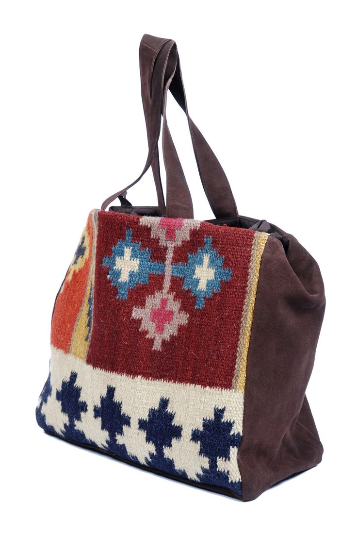 Handmade suede and Native American blanket needlepoint bag. Could I do this myself as a gift for my mother?