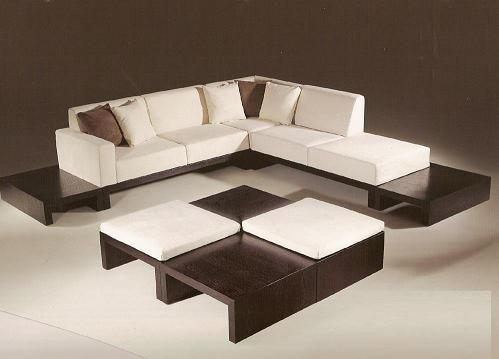 Modern Sectional Sofa Set With Solid Wood Frame In Expresso Color Features Beige Material Microfiber Attached End