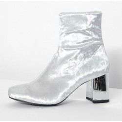 White Velvet Suede Blunt Head Silver High Heels Ankle Boots Shoes