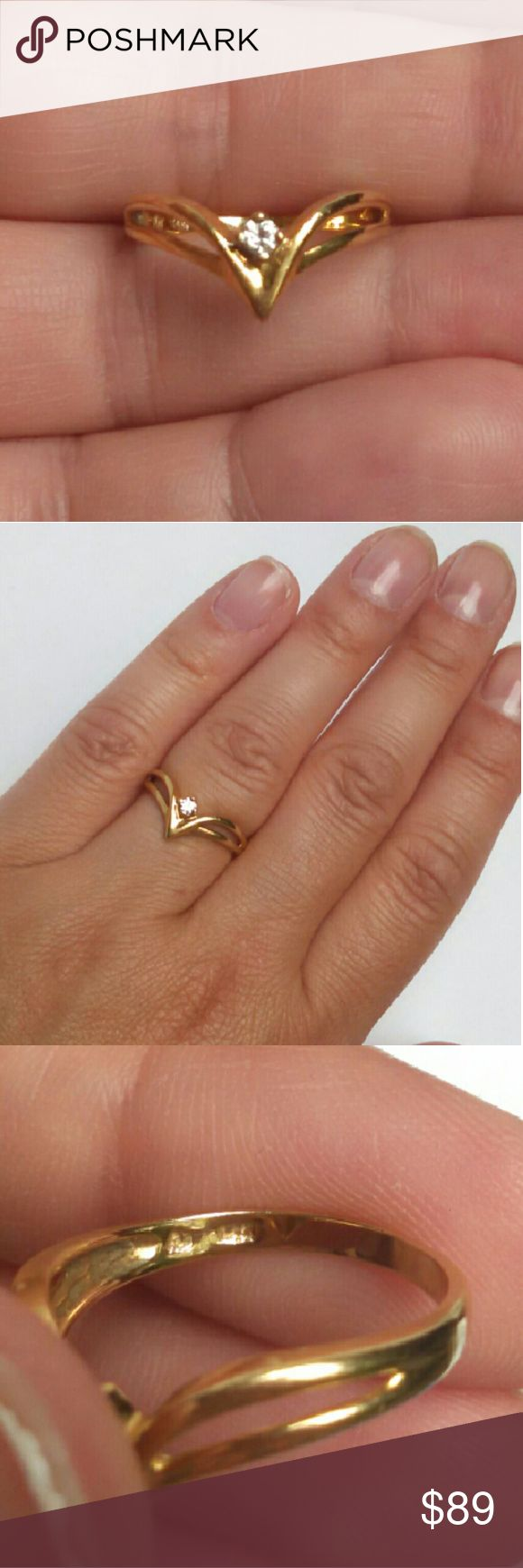 Unique 14k Gold Diamond V Ring Solid 14k Yellow Gold With A Real Natural  Diamond Approx