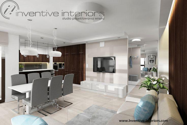 Projekt salonu Inventive Interiors - beżowe ściany i beżowy narożnik w pokoju dziennym