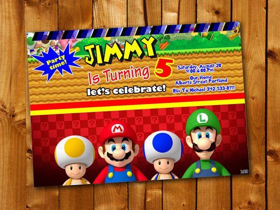 81 best Birthday Invitation card images – Mario Bros Birthday Invitations