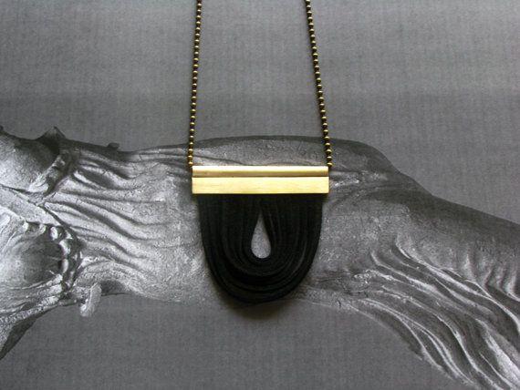 Brass Pandant Necklace-Modern Leather by SotiriaVasileiou on Etsy