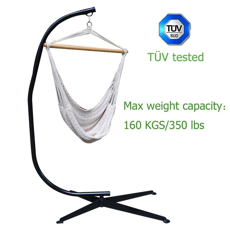 TÜV tested Zupapa Heavy Durable Steel C Hammock Frame Stand with 100% Cotton Hammock Swing Chair - 40inch Wide Seat - 350 Lbs Weight Capacity (Hammock & stand)