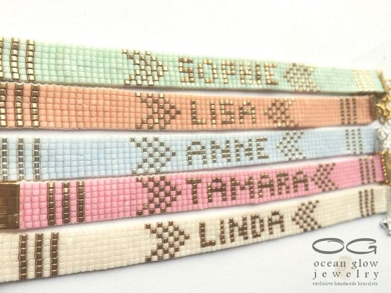 Name bracelet - friendship bracelet, beadloom bracelet, beaded bracelet, miyuki…