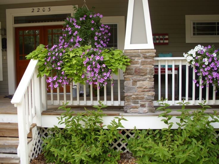 17 best images about front yard redo on pinterest for Front porch landscaping plants