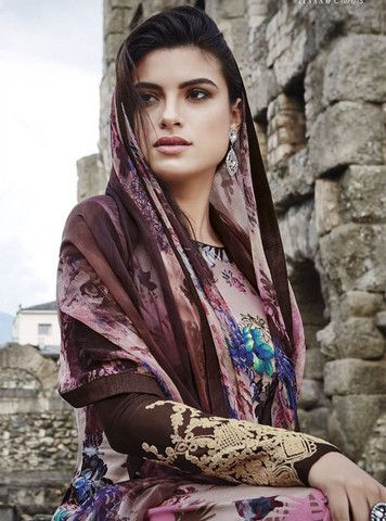 Jinaam 8456 Brown & PinkColor Glace Cotton Designer Suit