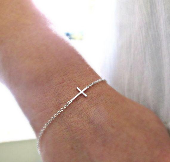 silver sideways cross bracelet silver cross by vonmeyerjewelry