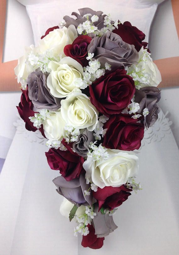 New Artificial Burgundy Gray And White Wedding Flowers Etsy Winter Wedding Flowers Wedding Flower Arrangements Wedding Flower Guide