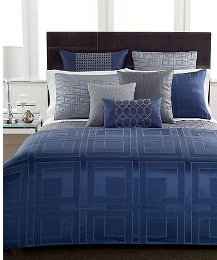 Royal blue comforter.