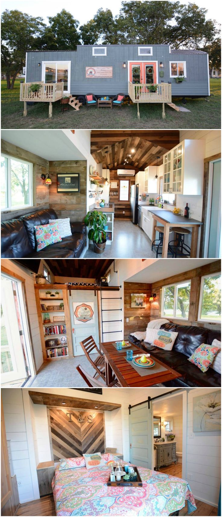 The Vintage Retreat is a wonderful tiny house built by Texas-based Hill Country Tiny Houses. The 384-square-foot tiny home has two steel slide-outs, a main floor master bedroom, and an additional 70-square-foot loft. The tiny house features two vintage stained glass windows, white shiplap walls, and a barn wood ceiling and accent walls. The master bedroom has a sliding glass door that leads onto one of the two decks.