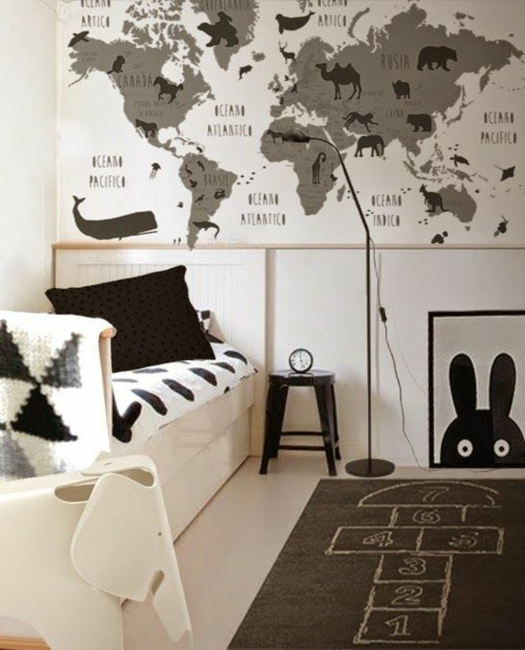 World map room wallpaper bedroom with wooden flooring and striped black and white world map wallpaper for nursery with world map room wallpaper publicscrutiny Gallery