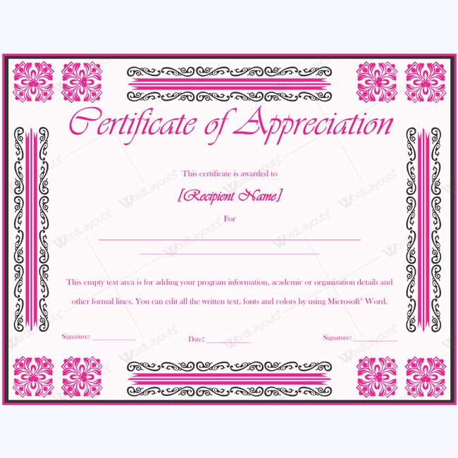 26 best Certificate of Appreciation Templates images on Pinterest - ms word certificate template