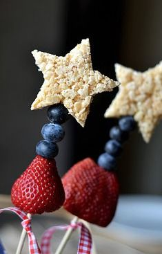 Rice Krispy Treat Sparklers - use a Maple Leaf cookie cutter shape, instead of star - for Canada Day