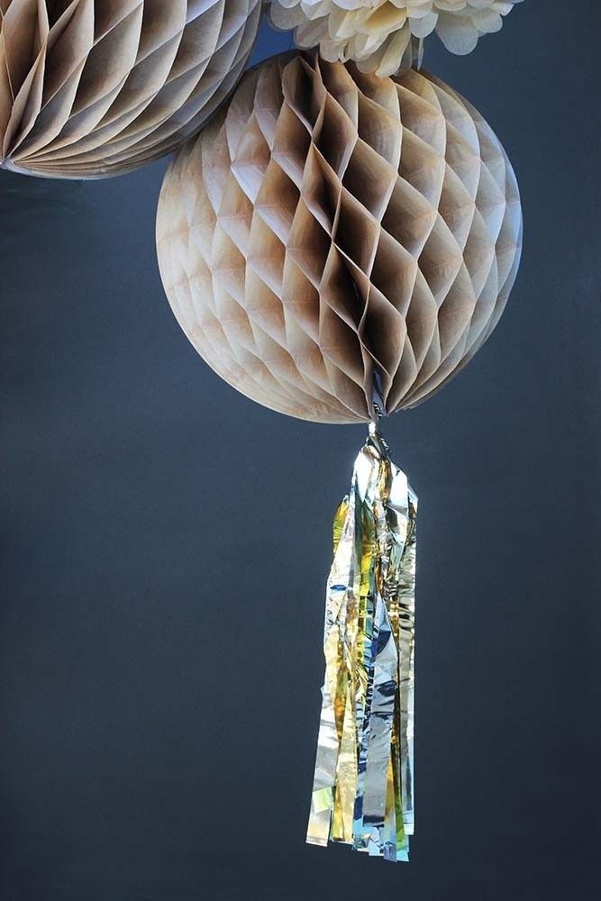 Champagne Honeycomb Paper Ball With Gold Tassel - Christmas Decorations - Christmas