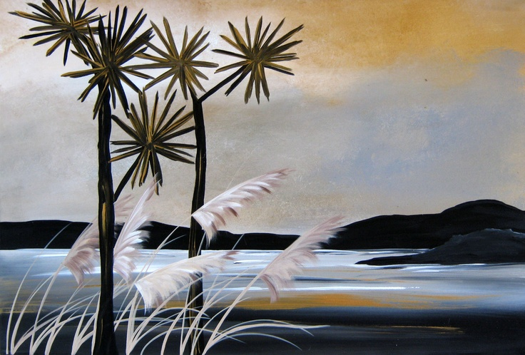 Title: West Coast Dawn: Title: Original landscape painting by artist Megan Morris, painted in acrylics onto framed canvas.