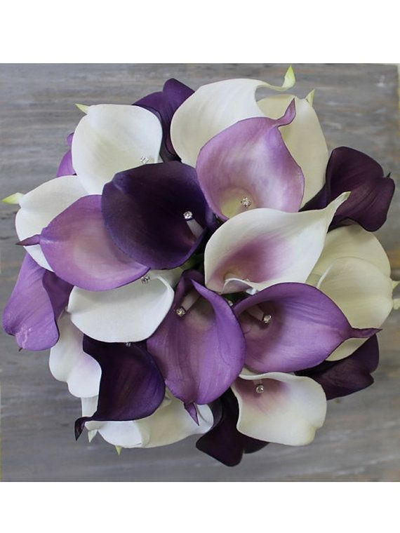 Purple Wedding Bouquet Purple Calla Lily Bouquet by MGFloralDesign