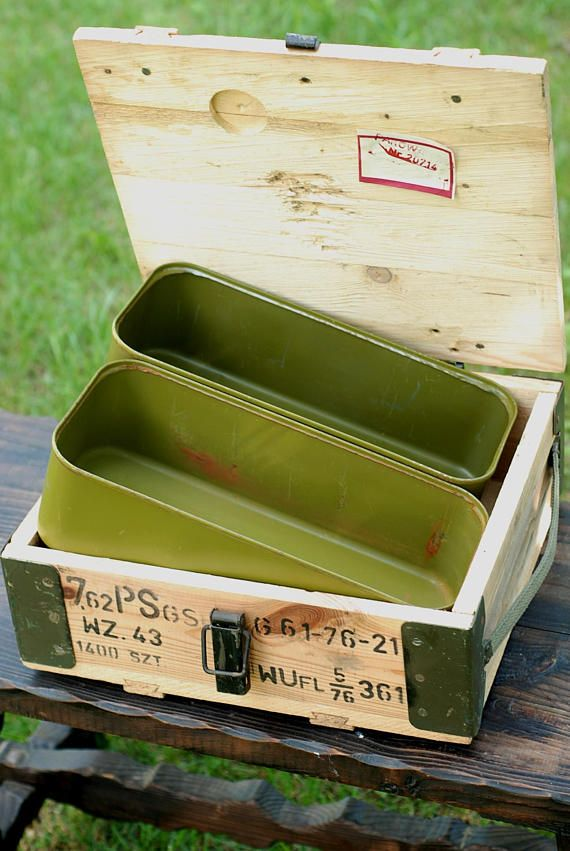 Wooden Ammo Box Ammunition Crate With Metal Can Military Army