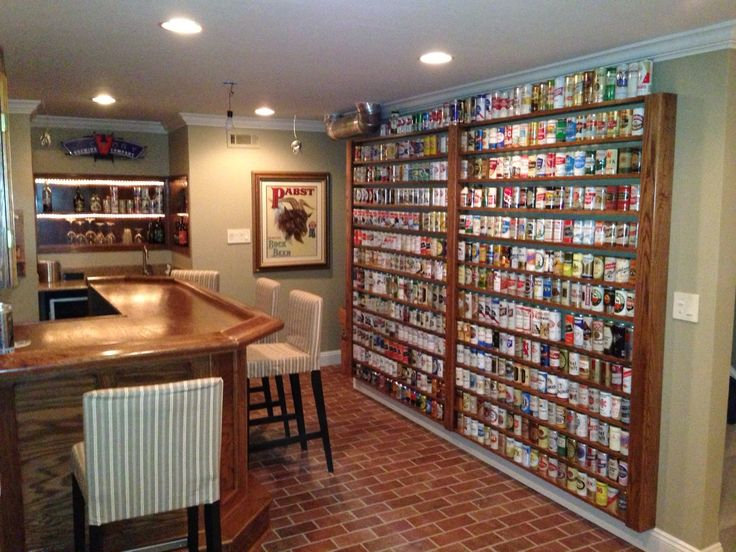 Beer Can Shelves Filled With Cans Chuggers Bar