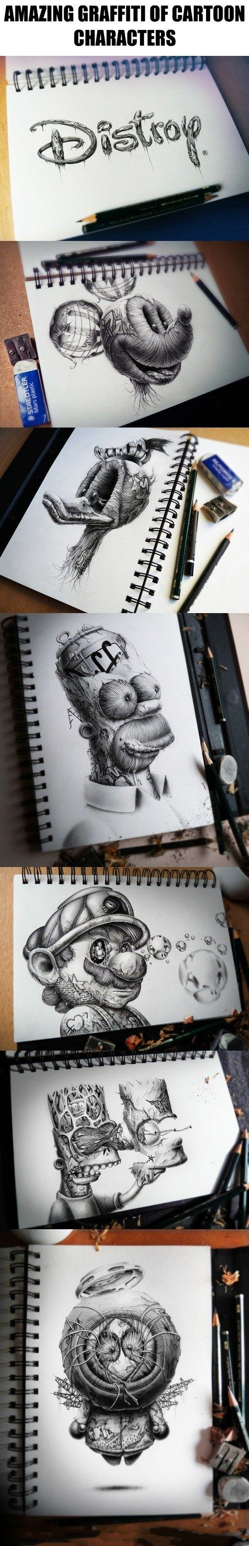 Amazing graffiti of cartoon characters                                                                                                                                                                                 More