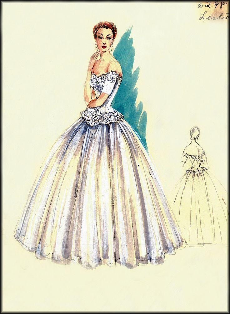 vintage fashion sketches | VINTAGE FASHION DESIGN SKETCHES: BERGDORF GOODMAN