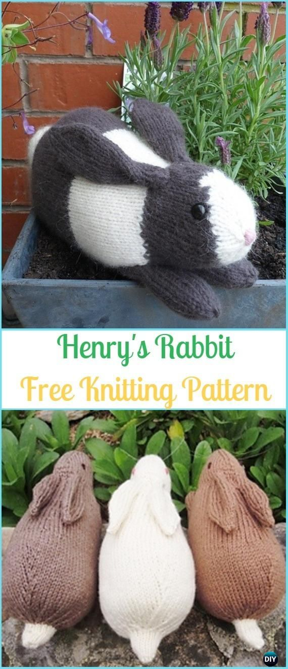 Amigurumi Henry's Rabbit Free Knitting Pattern - Amigurumi Knit Bunny Toy Softies Free Patterns