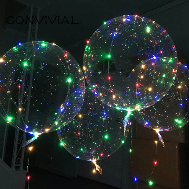 Griff Led Ballon Mit Sticks Leucht Transparent Helium Bobo Ballons