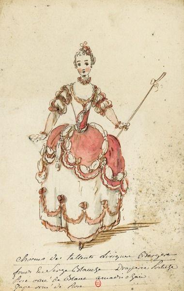 """¤ Costume de bergère pour l'opéra-balle les Fêtes d'Hébé de Rameau. Dessins et croquis de costumes pour les opéras représentés à Paris et à Versailles de 1739 à 1767. Dossier """"Talents lyriques"""". Louis-René Boquet (1717-1814), 1764."""