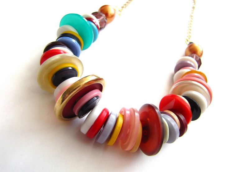 Best Diy Dollar Store Jewelry Images On Pinterest Dollar - Bright diy layered button necklace