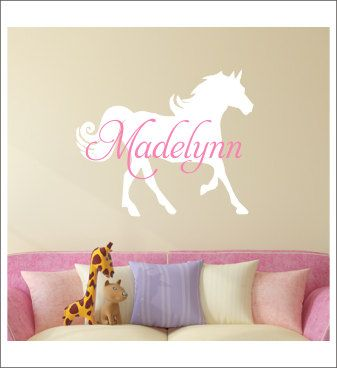 Personalized Horse Decal Wall Decal Horse Vinyl Wall Decal Name and Horse Girls Bedroom Decal Horse Nursery Girls Wall Decal Vinyl Horse