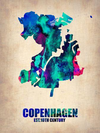 Copenhagen Watercolor Poster Plakater af NaxArt på AllPosters.dk