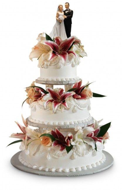 Hochzeitstorte, dreistöckig, mit bunten Blüten