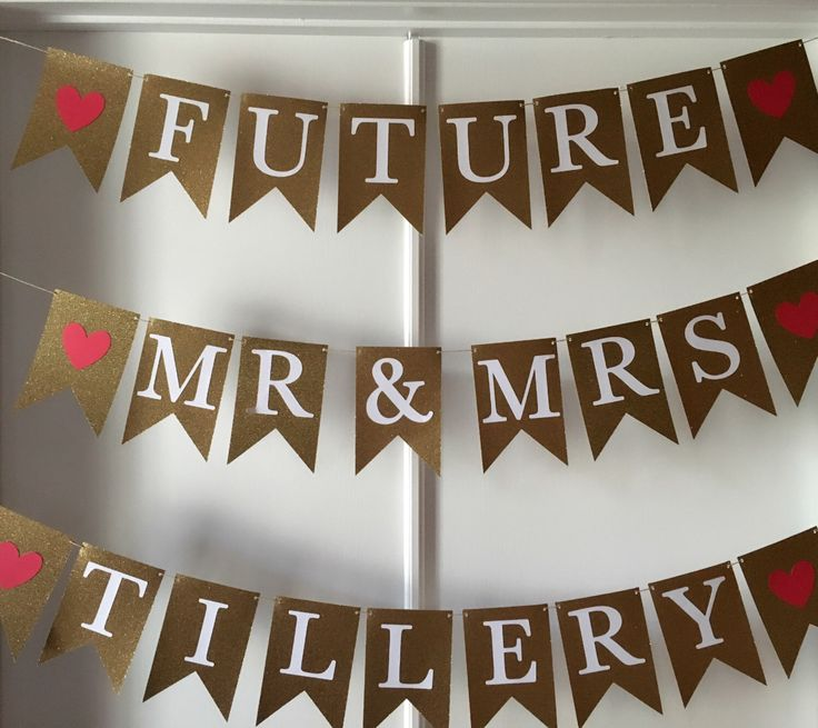 GOLD sign RED hearts custom name banner, custom sign, kate spade, mr and mrs, baby shower banner, bachelorette banner, birthday, engagement by FoxyLittleRascals on Etsy https://www.etsy.com/listing/491023197/gold-sign-red-hearts-custom-name-banner