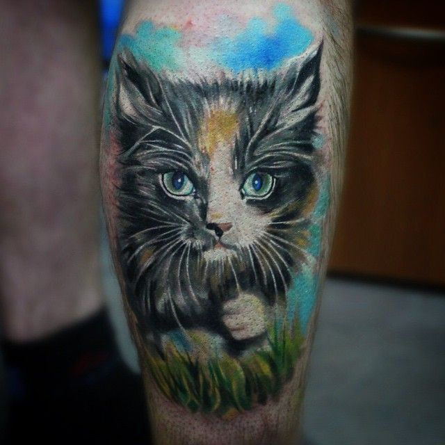 Ankle Kitty Tattoo
