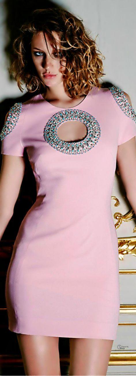 Azzaro 2014. Pink Dress with Beaded Circle Cutouts. Unusually Pretty!