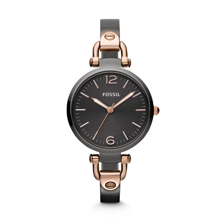 Fossil Georgia Three Hand Stainless Steel Watch - Smoke and Rose  LOVE IT!!