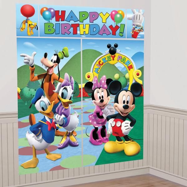 Set the scene for your Mickey Mouse birthday party with this giant scene setter wall decorating kit that can be used indoor and outdoors. Great as a photo backdrop, and features Mickey, Minnie, Goofy,