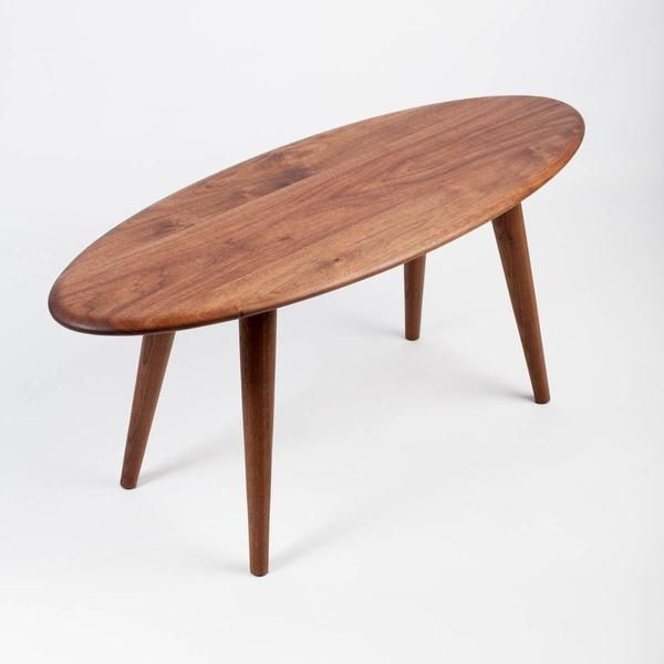 Surfboard Mid-Century Modern Coffee Table. Handcrafted in the USA from Solid Wood In Stock Today!