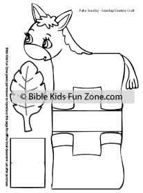 Donkey Standup craft page in black and white for kids to