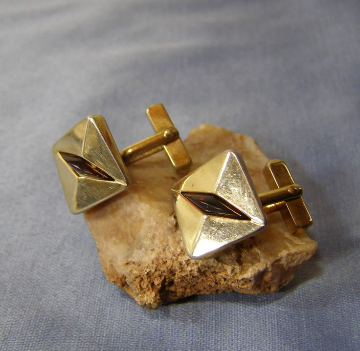 SWANK Geometric gold Finish Cufflinks w Ruby Red Lucite wedge - vintage Mid Century MOD Formal Tuxedo Groom WEDDING Jewelry - Husband gift by StitchInTimeJewelry on Etsy #vintagejewlery #etsyshop #swankcufflinks #etsygifts #vintagecufflinks #mensfashion #weddingjewelry #geometriccufflinks #stitchintimejewelry
